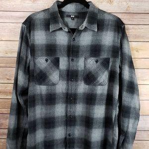 Uniqlo Men's L Flannel Shirt Grey Black Cotton EUC